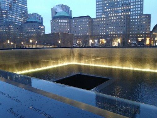9-11 memorial at night